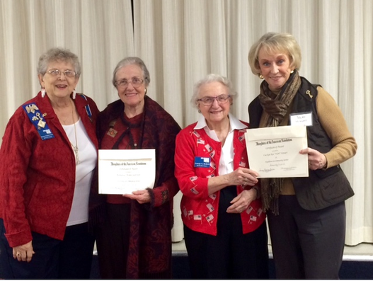 Barbara Garrison and Vickie Stewart receiving Community Awards for The program they gave to the Bartlesville Chapter of DAR on the book they co-authored,